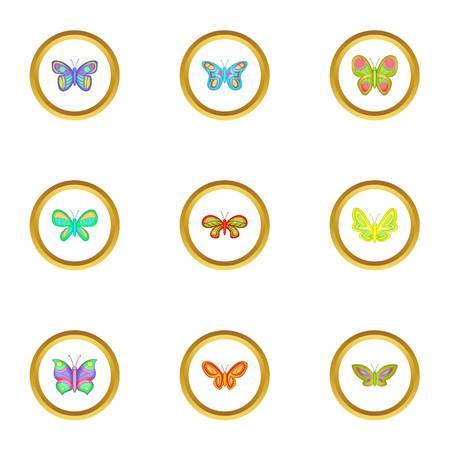 Spring butterflies icons set, cartoon style Illustration
