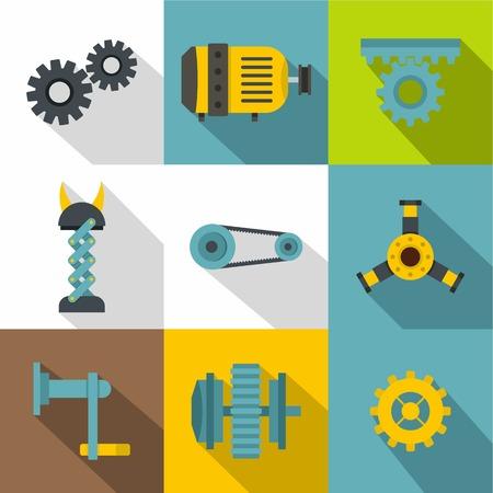 twist: Machinery gear icon set, flat style