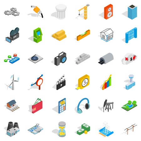 car isolated: Flash drive icons set, isometric style Illustration
