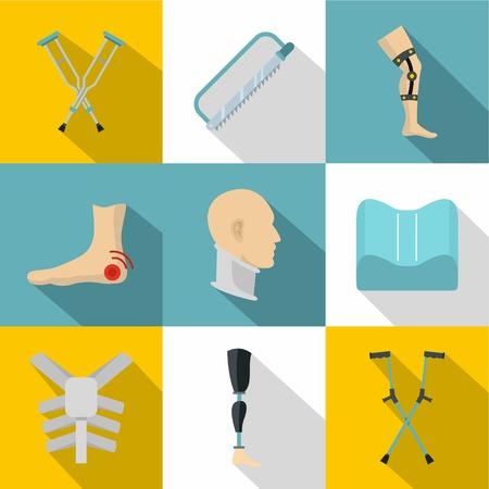Orthopedic disease icon set, flat style