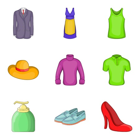 flippers: Summer clothes icon set, cartoon style