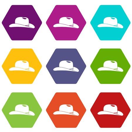 Cowboy hat icon set color hexahedron Illustration