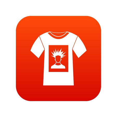 White shirt with print of man portrait icon digital red