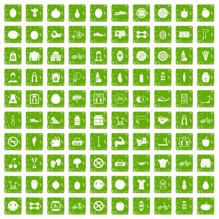 heart monitor: 100 fitness icons set grunge green Illustration
