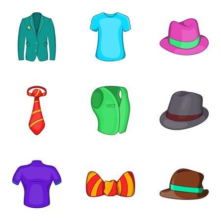 Man elegant clothes icon set, cartoon style