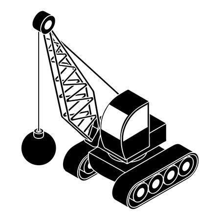 Demolish truck icon, simple style Illustration