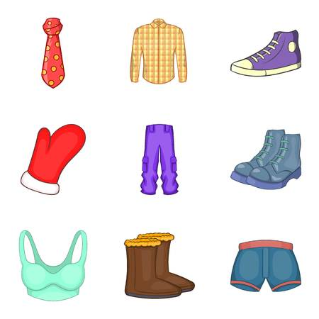 Fashion clothes icon set, cartoon style