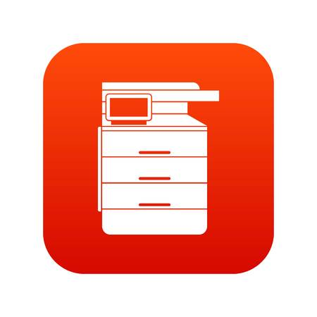 Multipurpose device, fax, copier and scanner icon digital red Illustration