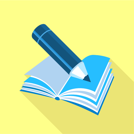 Blue pencil on book icon, flat style Illustration