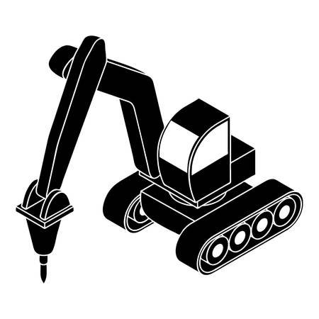 Drill tractor icon, simple style