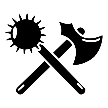 Medieval axe and mace icon, simple style