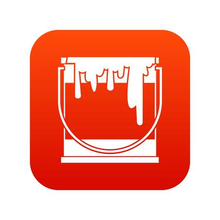 paint can: Paint can icon digital red Illustration