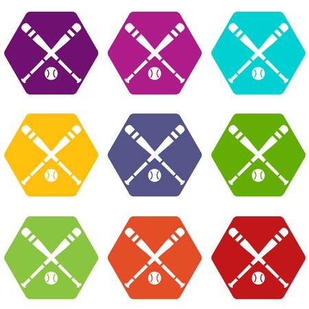 sports equipment: Baseball bat and ball icon set color hexahedron Illustration