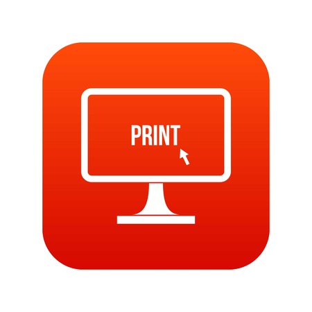 Print word on a computer monitor icon digital red