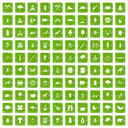 100 forest icons set grunge green