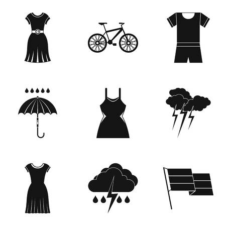 Rain clothes icon set. Simple set of 9 rain clothes vector icons for web design isolated on white background Illustration