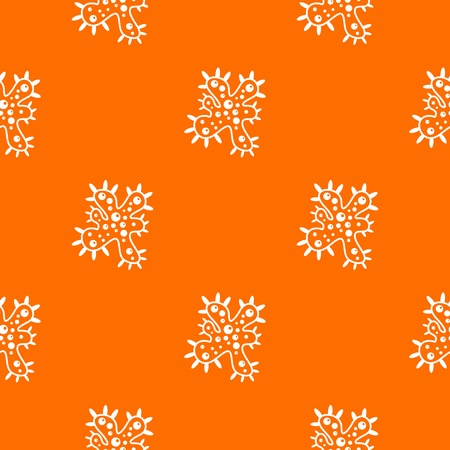 Bacteria pattern repeat seamless in orange color for any design. Vector geometric illustration