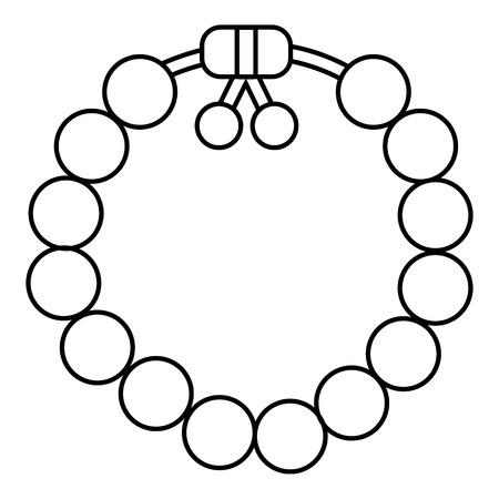 Icono de pulsera de piedras preciosas con encanto. Ilustración del contorno de pulsera de piedras preciosas encantadora icono vectorial para diseño web aisladas sobre fondo blanco Ilustración de vector