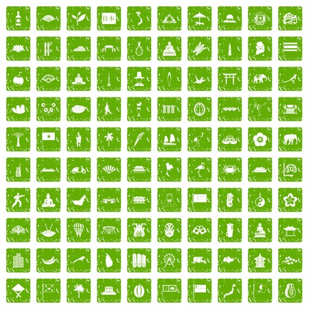 100 asian icons set grunge green Illustration