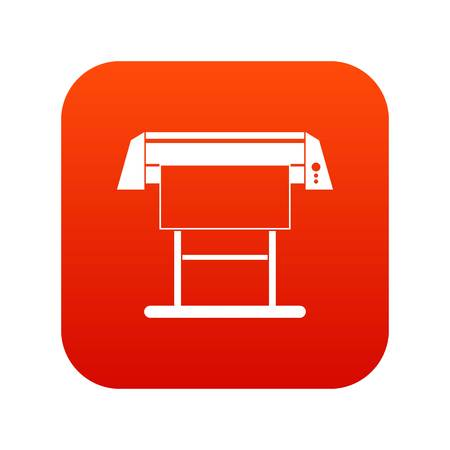 Large format inkjet printer icon digital red Illustration