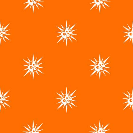 virus bacteria: Round cell virus pattern repeat seamless in orange color for any design. Vector geometric illustration