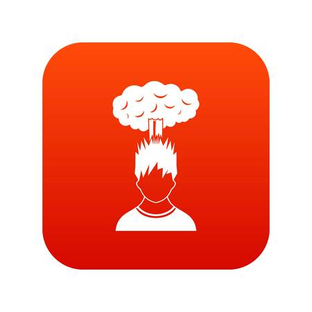 despondency: Man with red cloud over head icon digital red for any design isolated on white vector illustration