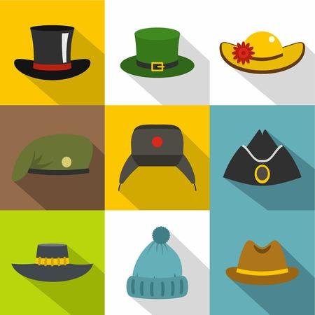 Different, headgear, icon set. Flat style set of 9 different headgear vector icons for web design Illustration