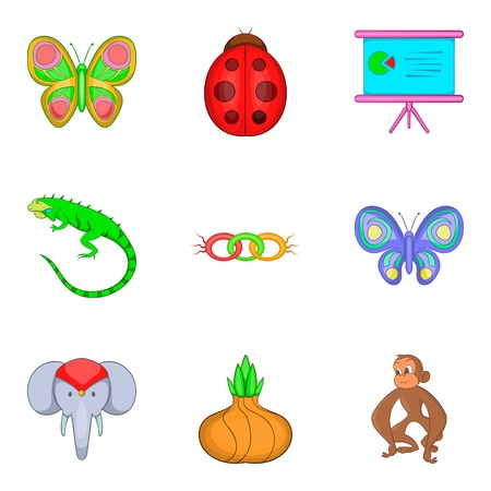 primate biology: Learning biology icons set. Cartoon set of 9 learning biology vector icons for web isolated on white background