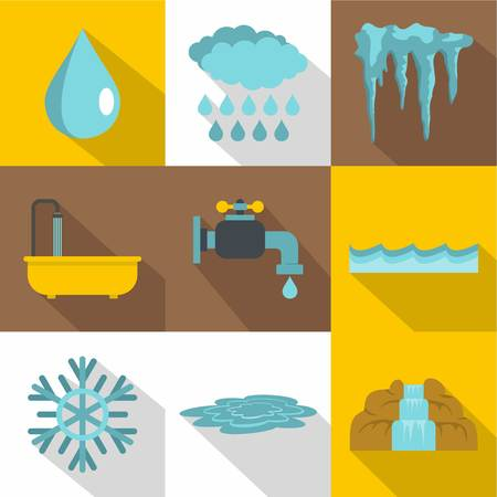 Water icon set. Flat style set of 9 water vector icons for web design
