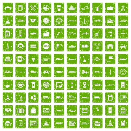 100 gas station icons set in grunge style green color isolated on white background vector illustration