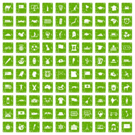 100 geography icons set in grunge style green color isolated on white background vector illustration