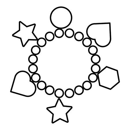 魅力のブレスレットのアイコン。白い背景で隔離の web デザインのチャーム ブレスレット ベクトル アイコンの概要図