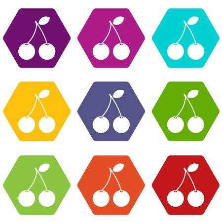 Two ripe cherry berries icon set color hexahedron