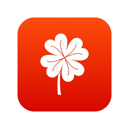 patric icon: Clover leaf icon digital red Vector illustration.