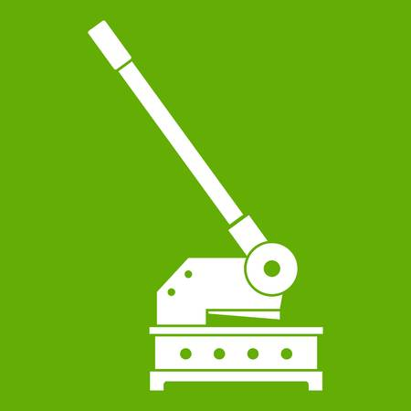 Cutting machine icon white isolated on green background. Vector illustration