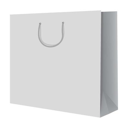 mujer en el supermercado: Wide paper hand bag mockup. Realistic illustration of wide paper hand bag vector mockup for web design isolated on white background