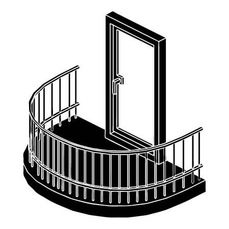 バルコニーのドアのアイコン。白い背景に分離された web デザインのためのバルコニーのドアベクトルアイコンのシンプルなイラスト