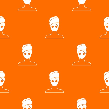 Spa facial clay mask pattern repeat seamless in orange color for any design. Vector geometric illustration Illustration