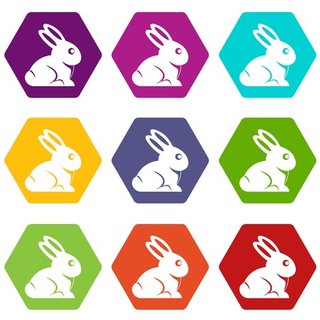 lapin: Easter bunny icon set many color hexahedron isolated on white vector illustration