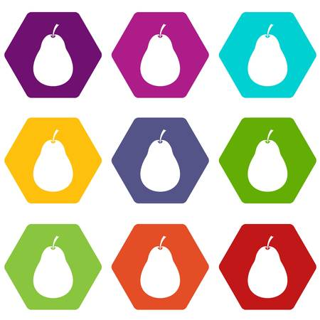 Pear icon set many color hexahedron isolated on white vector illustration