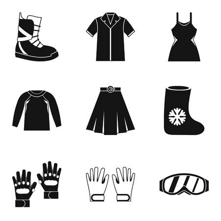 Season clothing icon set. Simple set of 9 season clothing vector icons for web design isolated on white background