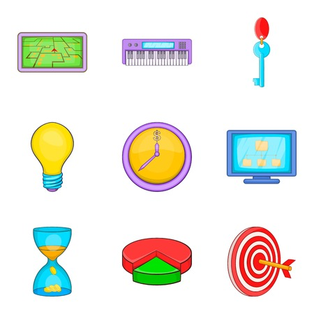 clouding: Social pc clouding icon set, cartoon style