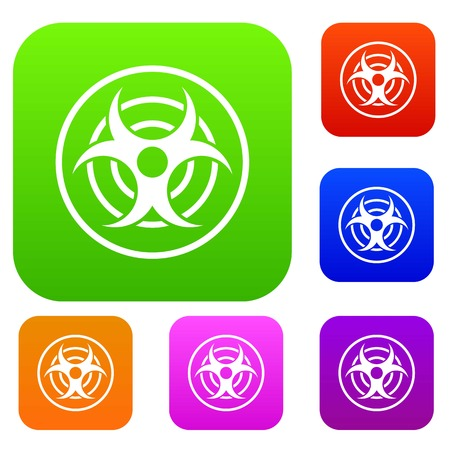 chemical weapon symbol: Sign of biological threat set icon color in flat style isolated on white. Collection sings vector illustration