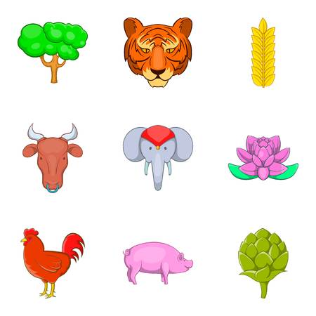 Animal of warm country icons set, cartoon style Illustration
