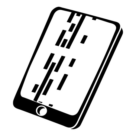 mobile device: Dead pixel smartphone icon, simple black style