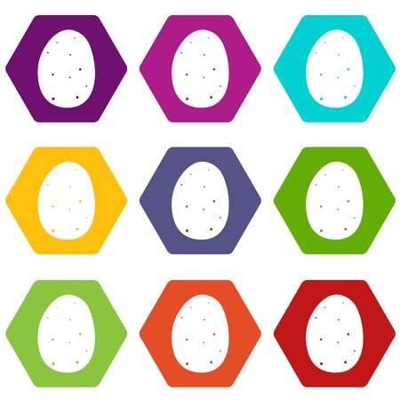 Fresh potato icon set many color hexahedron isolated on white vector illustration