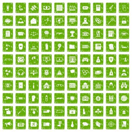 100 hacking icons set in grunge style green color isolated on white background vector illustration Ilustração