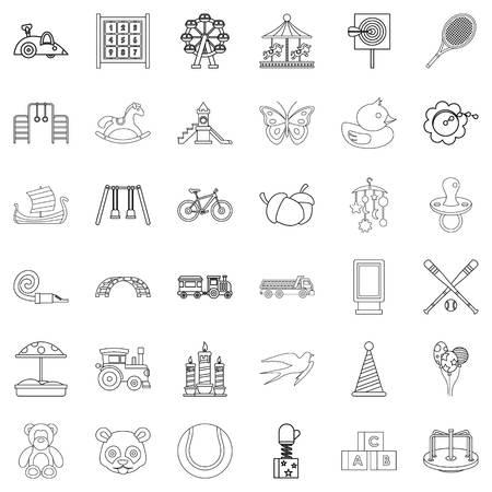 numeric: Teddy bear icons set, outline style Illustration