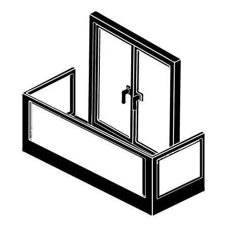 Glass balcony icon, simple style