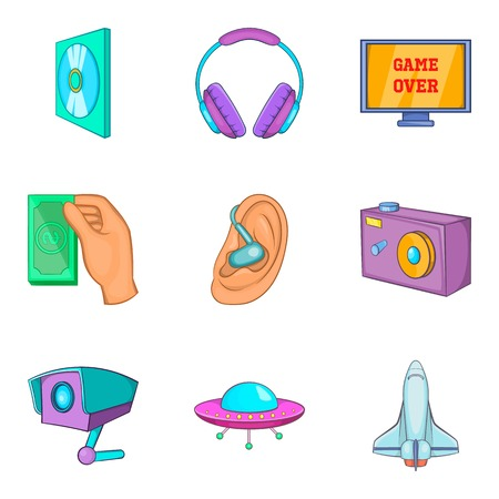 clouding: Media clouding icon set. Cartoon set of 9 media clouding vector icons for web design isolated on white background Illustration